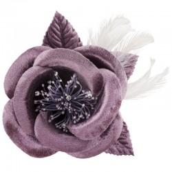 Fleur satin et plumes violet mauve