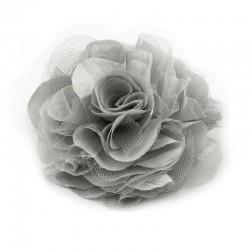 Grosse fleur cheveux ou broche gris