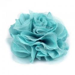 Grosse fleur cheveux ou broche turquoise