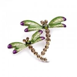 Broche libellules strass vert et violet