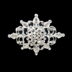 Broche vintage ovale en strass cristal