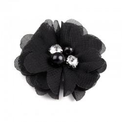 Broche ou pince cheveux fleur voile noir, perles et strass