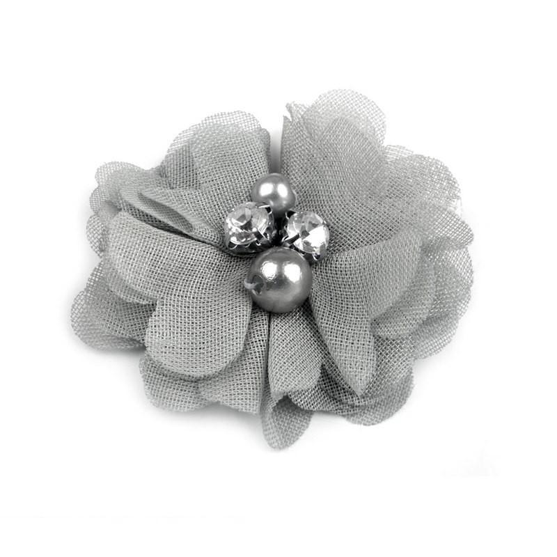 Broche ou pince cheveux fleur voile gris, perles et strass
