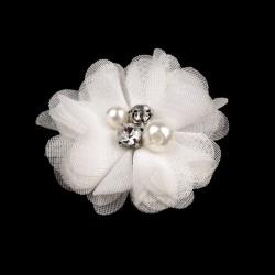 Broche ou pince cheveux fleur voile blanc, perles et strass