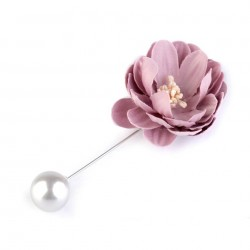 Broche épingle perle et fleur rose