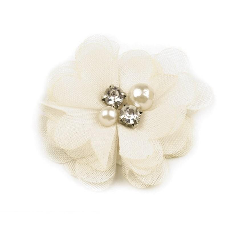 Broche ou pince cheveux fleur voile ivoire, perles et strass