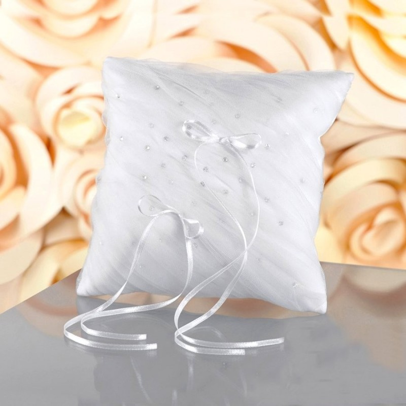 Coussin mariage voile cristal