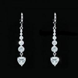 Longues boucles d oreilles coeur cristal
