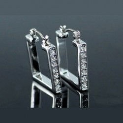 Boucles d oreilles creoles carré cristal Swarovski argent