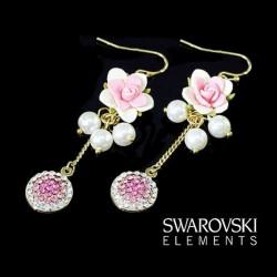 Boucles d oreilles roses et perles