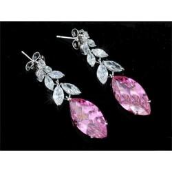 Boucles d'oreilles grappes cristal rose