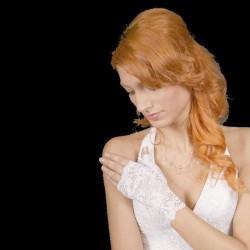 Gants de mariée courts en dentelle