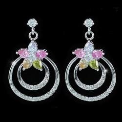 Boucles d oreilles anneaux cristal multicolores