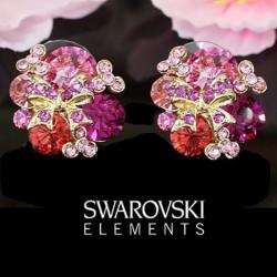 Boucles d oreilles fuschia rose cristal