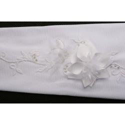 Gants mariage satin fleurs appliquées