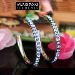 Boucles d oreilles creoles Swarovski bleu