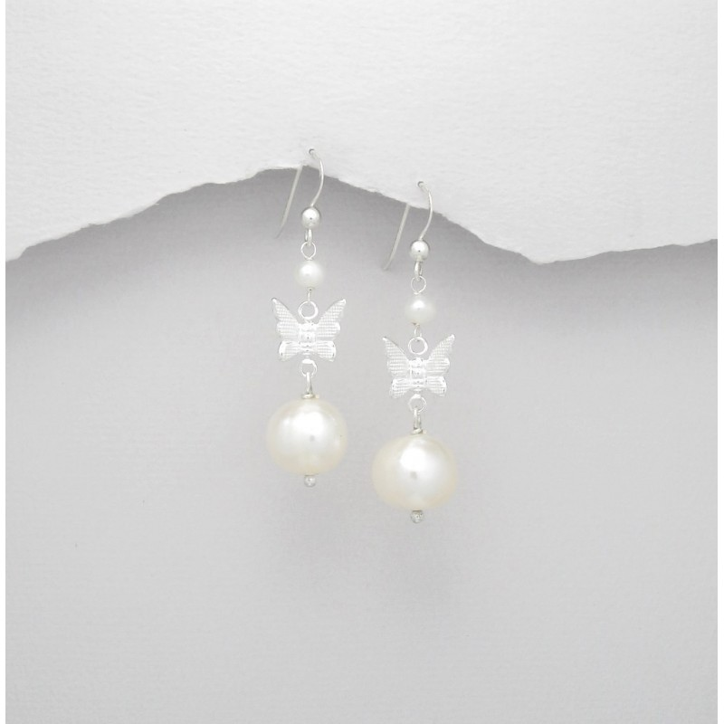 Boucles d oreilles perles et papillon