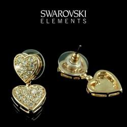 Boucles d oreilles or coeur cristal Swarovski