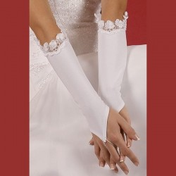 Gants mariage satin fleurs organza