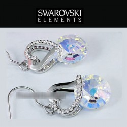 Boucles d oreilles coeur cristal Swarovski reflets AB