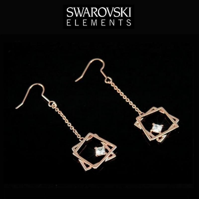 Boucles d oreilles or rose Swarovski