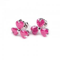 Boucles d oreilles cristal rose fuchsia