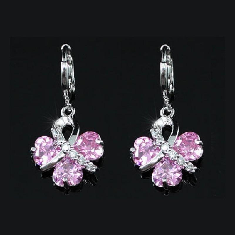 Boucles d oreilles en cristal rose