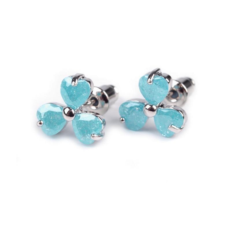 Boucles d oreilles en cristal bleu turquoise