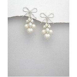 Boucles d oreilles perles en grappe et noeud
