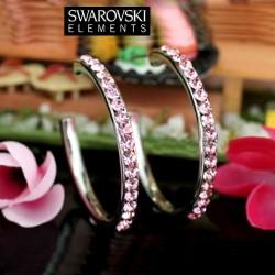 Boucles d oreilles creoles Swarovski rose