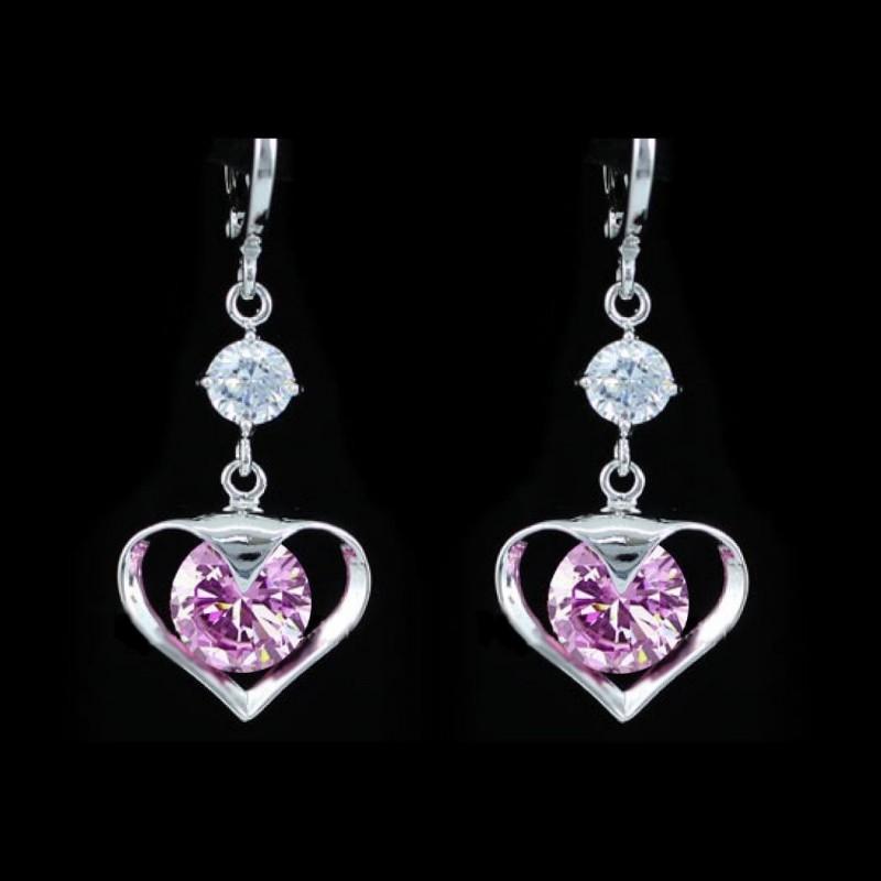 Boucles d oreilles coeur et cristal rose