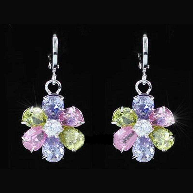 Boucles d oreilles en cristal multicolore