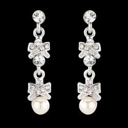 Boucles d'oreilles longues cristal et perles