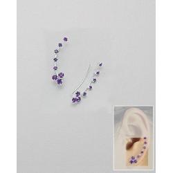 Boucles d oreilles améthiste violet et cristal