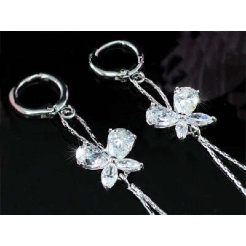Boucles d oreilles papillon cristal