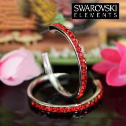 Boucles d oreilles creoles Swarovski rouge