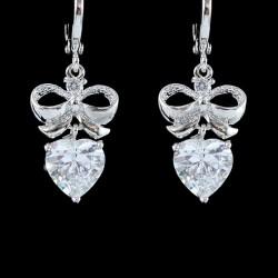 Boucles d oreilles mariee noeud et coeur cristal