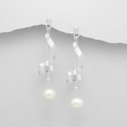 Boucles d'oreilles spirales et perles