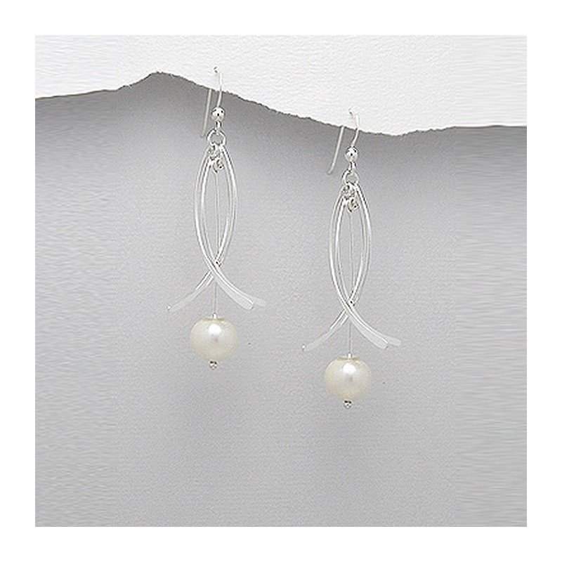 Boucles d'oreilles perles et argent