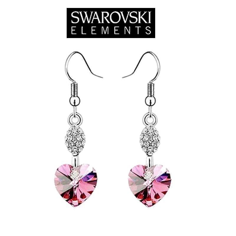 Boucles d oreilles longues coeur cristal rose