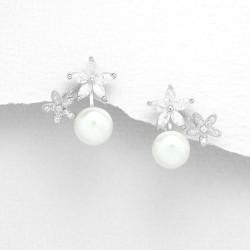 Boucles d'oreilles fleurs cristal et perles