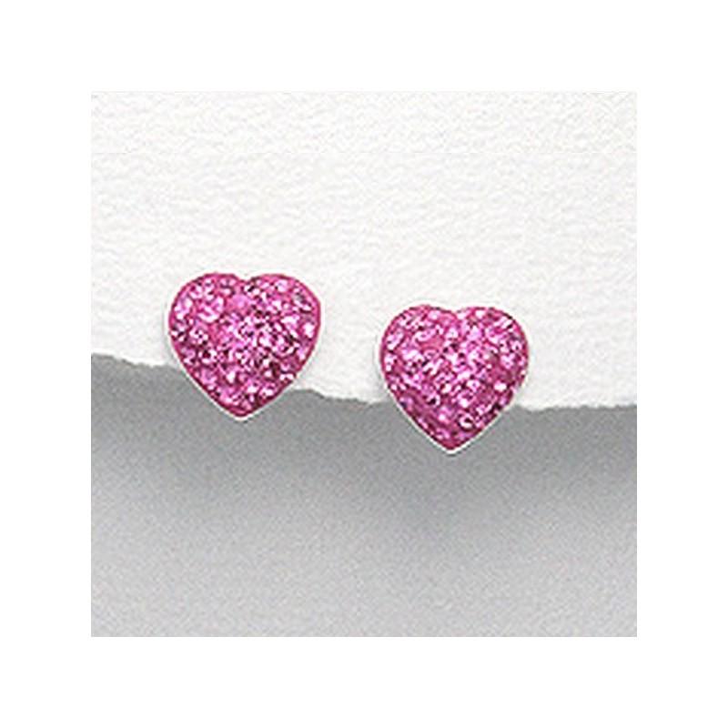 Boucles d oreilles coeur cristal rose