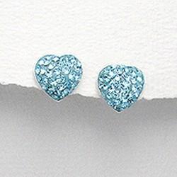 Boucles d oreilles coeur cristal turquoise