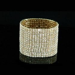 Bracelet 12 rangs strass OR