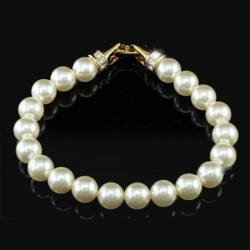 Bracelet perles ivoires et strass Swarovski