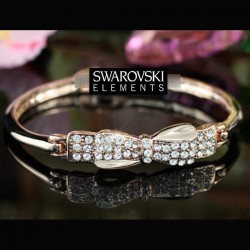 Bracelet or rose noeud cristal Swarovski