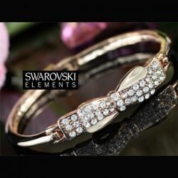 Bracelet or rose noeud cristal Swarovski