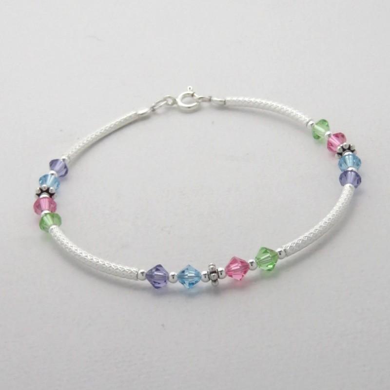 Bracelet argent et cristaux couleur