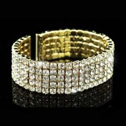 Bracelet or 5 rangées de strass