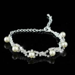 Bracelet fleurs et perles ivoire